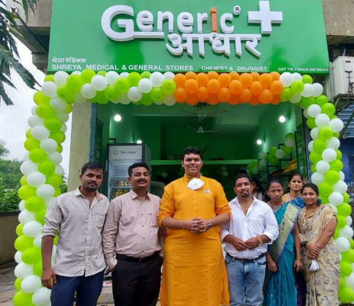 On 75th Independence Day Mr. Arjun Deshpande Inaugurated Generic Aadhaar's Grand Opening of Franchise Medical Store at Ghansoli in Navi Mumbai